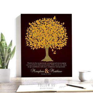 Thank You Gift For Parents | Personalized | Wedding Day Gift | Gift for Mom and Dad | Oak Tree | Gift from Newlyweds Custom Art Print LT1105