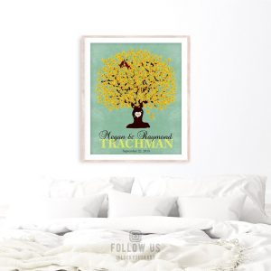 Gift for Couple | Oak Tree | Wedding Gift | Carved Initials | Personalized Gift | 1st Anniversary Gift | Paper Gift Custom Art Print LT-1107
