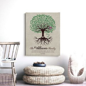 Personalized Family Tree | Tree with Roots | Two Hearts | Anniversary Gift | Gift For Couple | 10 Year Anniversary Custom Art Print #LT-1109