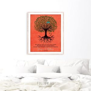 Thank You Gift For Parents | Personalized Tree With Roots | Because Of You We Have Each Other | Wedding Day Gift Custom Art Print LT-1111