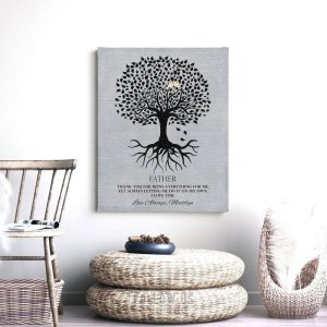 Gift For Dad | Fathers Day Gift | Gift From Daughter | Tree with Roots | Thank You Gift | Personalized Gift Custom Art Print #LT-1113