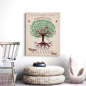 Our Family Tree | Tree with Roots | Established Date | Gift For Couple | Anniversary Gift | Family Gift Personalized Custom Art Print LT1129