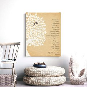 1st First Year Anniversary Gift | 1 Corinthians | Love is Patient | Gift For Couple | Gift for Wife | Husband Gift | Custom Art Print LT1131