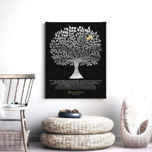 Personalized Gift For Parents | How Could We Possibly | Thank You Gift | Silver Gold Tree | Gift From Newlyweds Custom Art Print #LT-1136