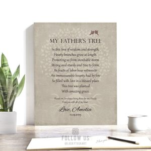 Poem For Father | Gift for Dad | Father's Day Gift | Gift From Daughter | Gift From Son | Tree Roots | Personalized Custom Art Print LT-1141