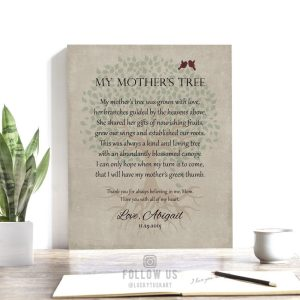 Poem for Mother | Gift for Mom | Mother's Day Gift | Gift From Daughter | Tree with Roots | Personalized Poem Gift Custom Art Print #LT-1142