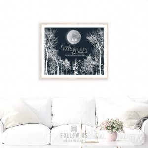 10 Year Anniversary   Personalized   Gift of Tin   Honeymooning Since   Bare Trees   Moonlight Midnight   Full Moon Gift For Couple LT-1148