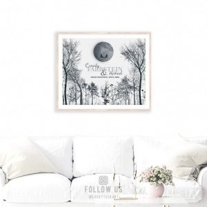 10 Year Anniversary | Personalized | Gift of Tin | Honeymooners Art | Winter Trees | Moonlight | Midnight Full Moon Gift For Couple LT-1149