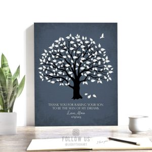 Thank You Gift | Mother of Groom Gift | Personalized Gift From Bride on Wedding Day | Mother in Law | Magnolia Tree Custom Art Print LT-1150