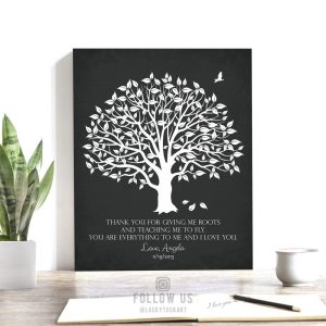 Gift for Mom and Dad | Thank You Gift | Giving Roots | Teaching to Fly | Gift From Daughter to Mother Personalized Custom Art Print #LT-1152