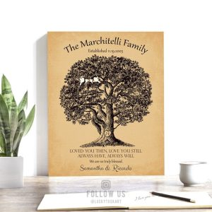 10 Year Anniversary | Personalized | Large Oak Tree | Loved You Then | Love You Still | Gift For Couple | Husband Custom Art Print LT-1159