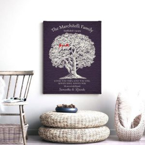 40th Wedding Anniversary | Personalized Anniversary Gift | Loved You Then | Gift For Parents | Large Oak Tree Custom Art Print #LT-1160