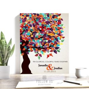 10 Year Anniversary Gift   Personalized   Gift For Husband   Colorful Spring Tree   Tin Anniversary   Gift of Tin Custom Art Print #LT-1163