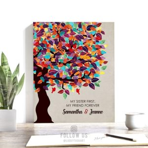Gift For Sister | Bridesmaid Gift | Personalized Gift | Sister to Sister Gift | Wedding Day Gift | Colorful Tree Custom Art Print #LT-1164
