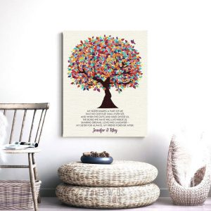 Sister Gift | Sister Poem Gift | Personalized | Gift For Sister | Sister to Sister | Colorful Tree | Wedding Day Custom Art Print #LT-1166
