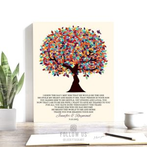 Mother of Groom Gift | Personalized | Gift From Bride | I Knew The Day I Met Him | Wedding Day Gift | Colorful Tree Custom Art Print LT-1167