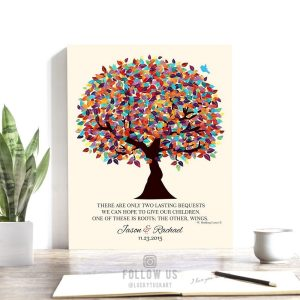 Personalized | Gift For Parents | Hodding Carter Quote | Two Lasting Bequests | Colorful Tree | Wedding Day Gift Custom Art Print #LT-1168
