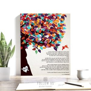 10 Year Anniversary Gift | Personalized | Gift For Husband | EE Cummings Poem | I Carry Your Heart | Colorful Tree Custom Art Print #LT-1169