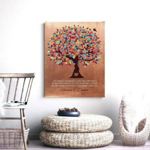 7 Year Anniversary | Faux Copper | 7th Wedding Anniversary | Personalized | Colorful Tree | Perfect For Each Other Custom Art Print #LT-1171