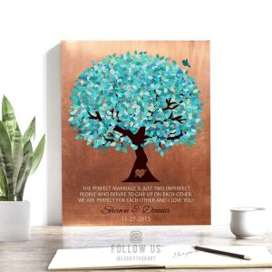 22 Year Anniversary | Personalized Gift | Faux Copper Turquoise | 7 Year Anniversary | Perfect Marriage | Husband Custom Art Print #LT-1172