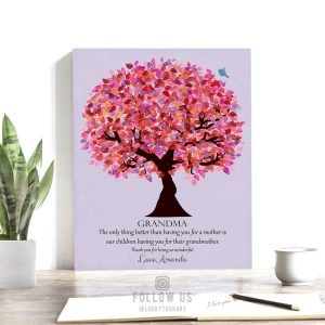 Gift For Grandma | Grandmother Gift | Personalized | Grandparents Day | Birthday Gift for Grandma | Pink Purple Custom Art Print #LT-1177