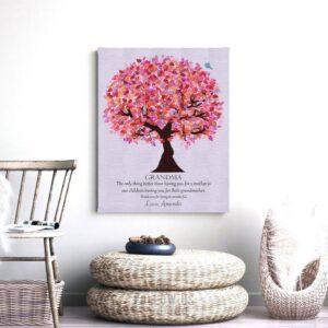 Gift For Grandma | Grandmother Gift | Personalized | Grandparents Day | Birthday Gift for Grandma | Pink Purple Custom Art Print #LT-1177
