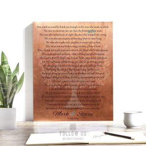 Gift for Parents | Personalized Gift | Faux Copper Background | Thank You Poem | Gift from Bride and Groom | Wedding Day Gift LT-1182