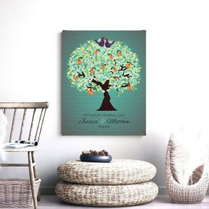 Christmas Gift | Personalized | Gift for Couple | First Christmas | Christmas Anniversary | First Anniversary | Pear Tree Background #1184