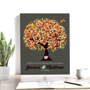 Fall Wedding Gift | Personalized | Gift for Couple | 1st Anniversary Gift | October Wedding | Anniversary | Paper Gift | Custom Art #1190