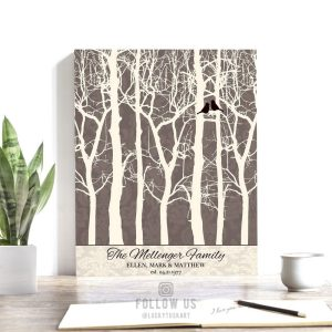 40 Year Anniversary | Personalized Gift | Bare Trees | Damask | Gift for Couple | Winter Wedding | Anniversary Gift Custom Art #1193