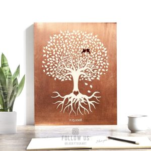 7 Year Anniversary | Personalized | Minimalist | Copper Anniversary | Tree with Roots | Anniversary Gift | Faux Copper Custom Art #1196