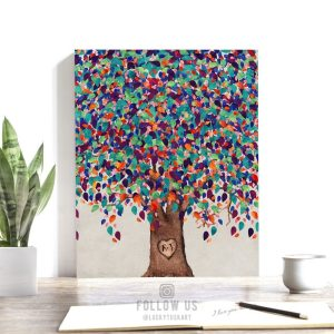First Anniversary | Gift for Couple | Personalized | Paper Anniversary | Watercolor Tree | Minimalist | Anniversary Gift | Custom Art #1199