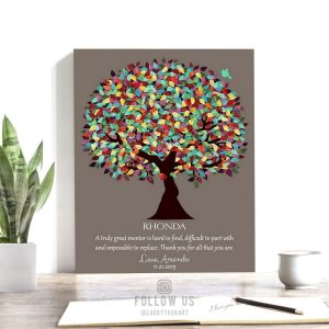 Gift For Mentor | Mentor Appreciation | Personalized | Spring Tree | Truly Great Mentor Hard To Find | Thank You Gift | Custom Art #1201
