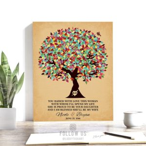 Gift For In Laws | From Groom To Inlaws | Mother of Bride Gift | Wedding Day Gift | Thank You Gift | Raised With Love Custom Art #1206