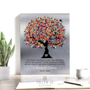 10 Year Anniversary | Tin Anniversary | Gift for Couple | The Perfect Marriage | Colorful Tree | Silver Background | Tenth Custom Art #1208