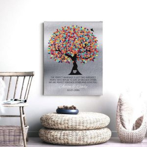 10 Year Anniversary   Tin Anniversary   Gift for Couple   The Perfect Marriage   Colorful Tree   Silver Background   Tenth Custom Art #1208