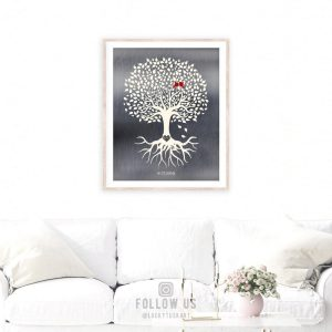 10 Year Anniversary | Tree With Roots | Minimalist Design | Gift for Couple | Tin Gift | Carved Initials | Aluminum Gift Custom Art #1210