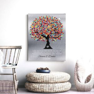 Ten Year Anniversary | Gift for Couple | Gift for Husband | From Wife | 10th Anniversary | Gift of Tin | Colorful Tree Custom Art #1211