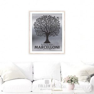 Family Tree Gift | Personalized Gift | Established Date | Housewarmig Gift | Gift of Tin | Anniversary Gift for Family Custom Art #1212