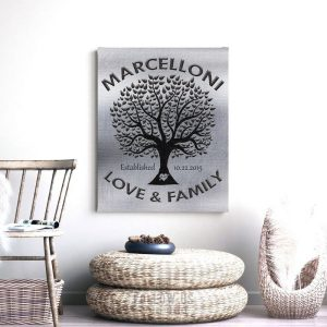 Love And Family Tree | Gift For Couple | Tin Anniversary | Gift from Parents for Son's Anniversary | Wedding Gift Custom Art #1213