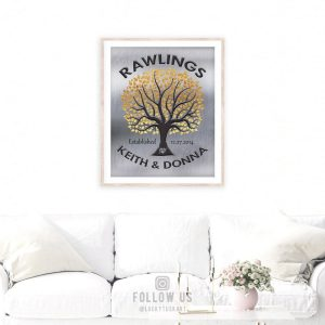 Tree In Round | Personalized Family Tree | Gift For Couple | Gold Silver | Established Date | Tin Anniversary | Weddig Gift Custom Art #1214
