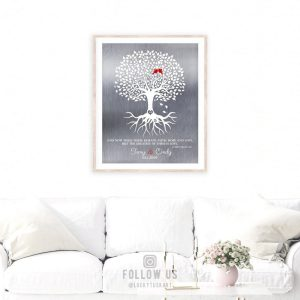 10 Year Anniversary | Corinthians 13 | Minimalist Art | Tree of Life | Faith Hope Love | Silver Anniversary Tin Anniversary Custom Art #1216
