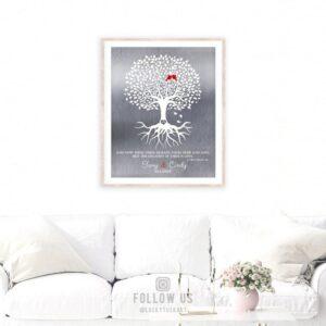 10 Year Anniversary | Corinthians 13 | Minimalist Art | Tree of Life | Faith Hope Love | Silver Anniversary Tin Anniversary Custom Art #1216