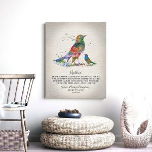 Gift For Mom | Mother's Day Gift | Watercolor Bird | Thank You Gift | Mother My Hero | Gift From Daughter to Mother | Custom Art #1217