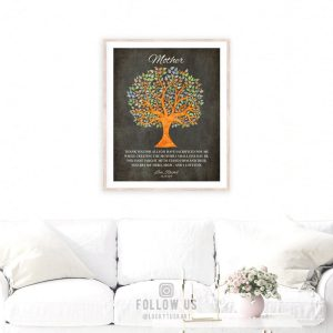 Thank You Gift For Mom | Gift From Daughter | From Daughter to Mother | Watercolor Tree | Poem For Mother | Gift for Mom Custom Art #1222