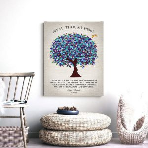 My Mother My Hero, Gift For Mom, Mother's Day Gift, Gift From Daughter, Gift From Son, Watercolor Tree, Mother Poem Gift, Custom Art #1224