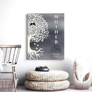 Minimalist Family Tree With Roots With Birds Gift For Mothers Day Gift From Son With Great Love Tin Design Background #1225