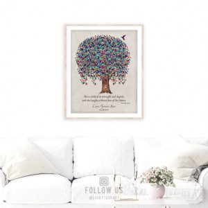 She Is Clothed In Strength and Dignity Proverb Watercolor Birds Gift For Mom Gift For Daughter #1227