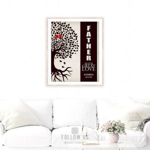 Father With Great Love Personalized Birds Family Tree Gift For Father's Day Thank You Dad #1228