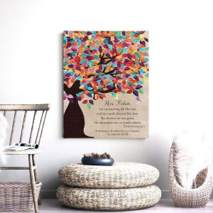 Deuteronomy 32:2 Personalized Watercolor Tree Gift For Teacher Professor Principal Custom Art Print #1229